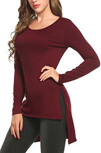 Zeagoo Damen Baumwolle Langarm Shirt Asymmetrisch Basic Shirt Vokuhila Longshirt Tops Oberteil T-Shirt Bluse