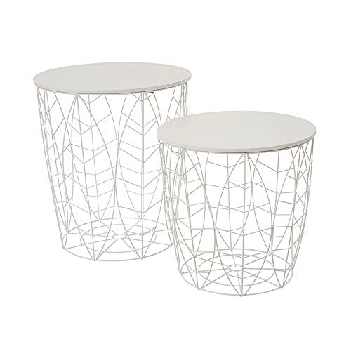 Set de 2 mesas auxiliares con Hojas de Metal y DM Blancas - LOLAhome