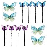 FLOFIA 12pcs Horquillas de pelo mariposa, Clip de pelo tela, Hebillas de pelo aleación, Pinzas para pelo mujer, 3 Estilos