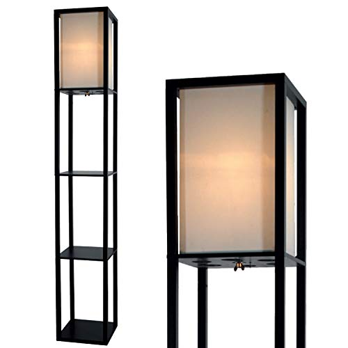 Floor Lamp with Shelves by Light Accents - Shelf Floor Lamp - 3 Shelf Lamp Standing Floor Lamp with Shelves 63' Tall Wood with White Linen Shade - Lamps for Living Room (Black)