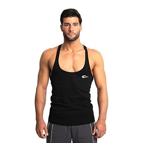 SMILODOX Herren Stringer Base | Casual Top | Klassisches Design | Top für Sport Fitness Gym & Training | Tanktop mit Logo | Kurzarm | Rückenfrei, Farbe:Schwarz, Größe:M