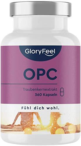 GloryFeel® OPC Traubenkernextrakt 360 Kapseln - 1.000mg Reines OPC aus Original französische Weintrauben pro Tagesdosis - Laborgeprüft, Vegan und Hergestellt in Deutschland…
