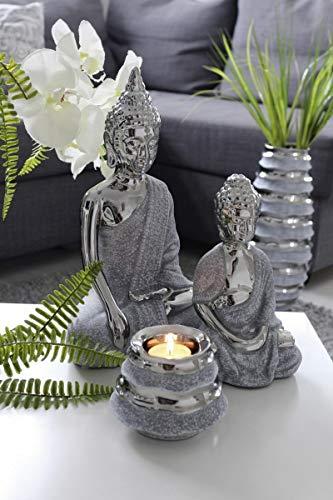 Gilde keramiek Boeddha Stona (BxHxD) 22 x 32 x 13 cm zilver, betonlook