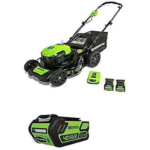 Greenworks 21-Inch 40V Brushless Cordless Mower, Two 2.5 AH Batteries and one 5.0 AH Battery -  Sunrise Global Marketing, LLC