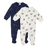 Bebé Conjunto de Pijama 2 Piezas - Pelele de Algodón Niños Niñas Mameluco Manga Larga Monos para Recién nacido 0-3 Meses