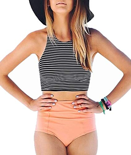Lashapear Women's Black White Stripe High Waist 2 Piece Bathing Suits Bikini Swimsuit, Pink, Small