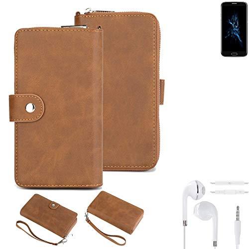 K-S-Trade® Handy-Schutz-Hülle Für -Bluboo Edge- + Kopfhörer Portemonnee Tasche Wallet-Case Bookstyle-Etui Braun (1x)