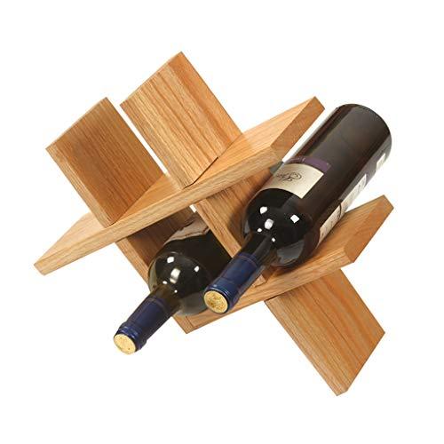 Botellero Vino Estante de Vino de Madera Maciza Hogar Sala de Estar Decoración de Estante de Vino Exhibición Creativa Botella de Vino Rejilla Estante para Vino (Color : Beige)