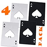 Goood Poker Card Bottle Opener Wallet Size 4 Pack (2 Black and 2 Silvery) - Stainless Steel - Ace Card Bottle Opener Playing Cards - Beer Bottle Opener - Good Gift For Him