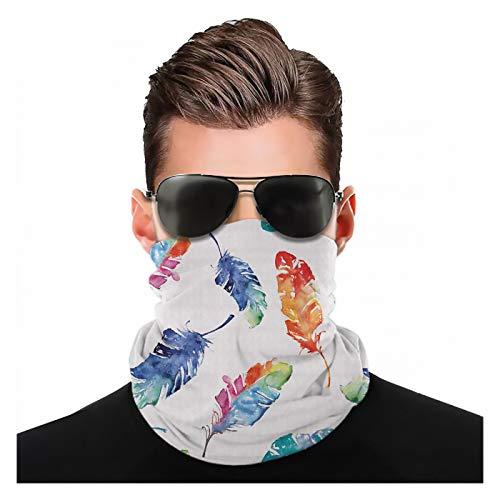 Yeuss Federstoff von Kopftuch, Aquarell Vogelfedern mit weicher Farbpalette Inspirationsdruck, Schal großer quadratischer Kopfschmuck Wechselbarer Turban