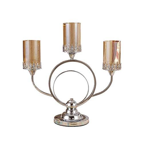 DAGONGREN Titular de Vela de Cristal de Plata for la Mesa de Boda Decoraciones, Decoración geométricas Porta Velas romántica