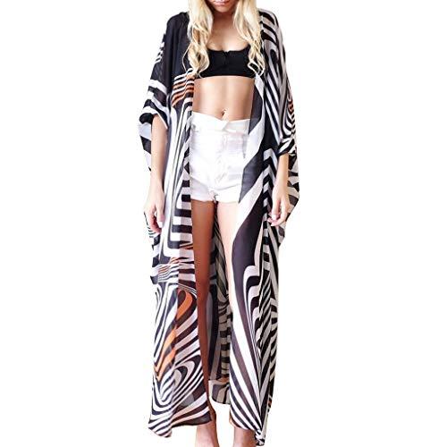 Sannysis Damen Strandkleid Chiffon Tops Cardigan Zebra-Druck Bluse Shawl Sommer Beachwear Cover up Leichte Boho Strand Kleid