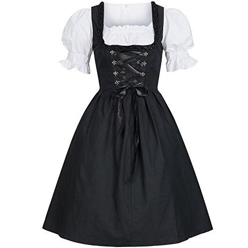 Bongossi-Trade Dirndl 3 TLG.Trachtenkleid Kleid, Bluse, Schürze, Gr. 38 schwarz