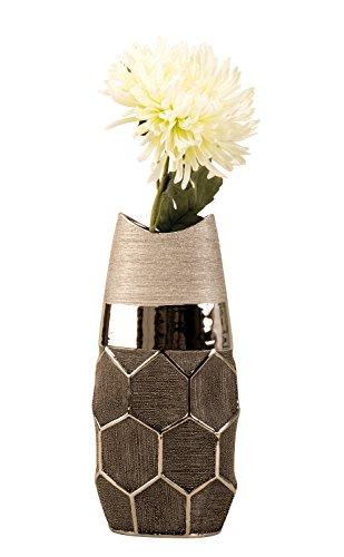 Lifestyle & More Moderne Deko Vase Blumenvase Silber aus Keramik mit Wabenmuster Höhe 36 cm Breite 17cm