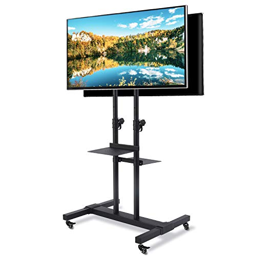 TAVR Dual Mobile TV Stand Rolling TV Cart Floor Stand with 2 TV Brackets on Locking Wheel Height Adjustable Shelf for 32-70 inch Flat/Curved Screen TV Gaming Console Display,Loading 110 lbs