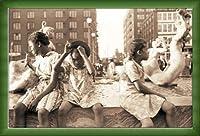 ポスター ジョン バション Hot Summer in the City 1940 額装品 ウッドベーシックフレーム(グリーン)