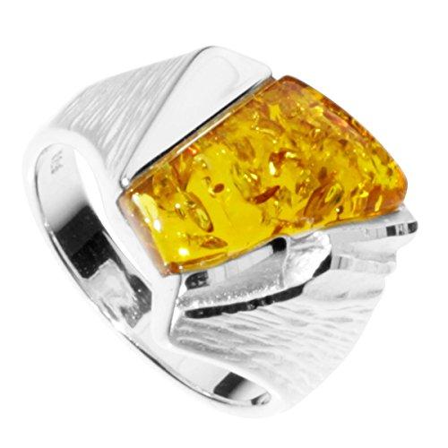 InCollections Damen-Ring 925/000 Sterlingsilber mit Bernstein Größe 58 (18.5) OS08020