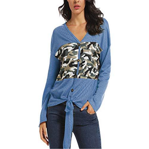 DISCOUNTL Nähte Kontrastfarbe Cardigan Lässiger Pullover Camouflage-Jacke mit V-Ausschnitt für Damen (Produkte enthalten nur Hemden) Blue L
