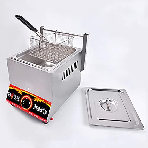 Freidora a Gas de 8 L con Cesta Y Tapa, Freidora Profesional de Acero Inoxidable para Encimera, para Restaurante, Cocina Familiar
