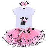 FYMNSI Conjunto de ropa para niña de primer cumpleaños con falda de tul con cinta para la cabeza, 3 piezas, para sesiones fotográficas Rosa - Mariquita Talla única