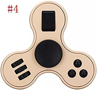 Multifunction Fidget Spinner with Buttons on it Like Fidget Cube, [ Joystick Buttons ] Stress Reducer - Perfect for ADD, ADHD, Anxiety, and Autism & Spinner Helps Focusing (Gold/Black)