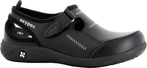 Oxypas Move Lilia, zapatos de enfermería de cuero antiestáticos, antideslizantes, cómodos, diseñados para profesionales médicos (5 Reino Unido (38 UE), negro)