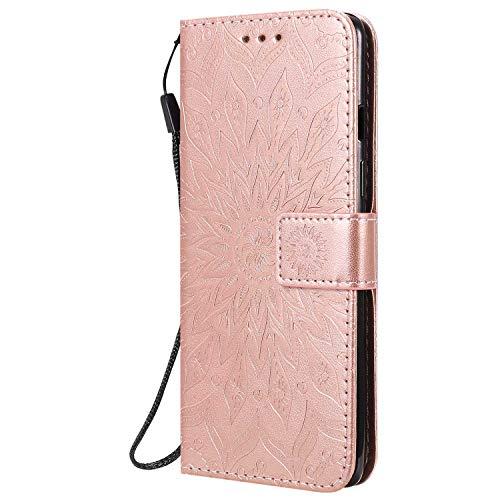Reevermap Samsung Galaxy A21S Hülle Handyhülle für Samsung Galaxy A21S Tasche Flip Lederhülle Mandala Blume Muster Hülle mit Kreditkartenhaltern Ständer Magnetverschluss, Roségold