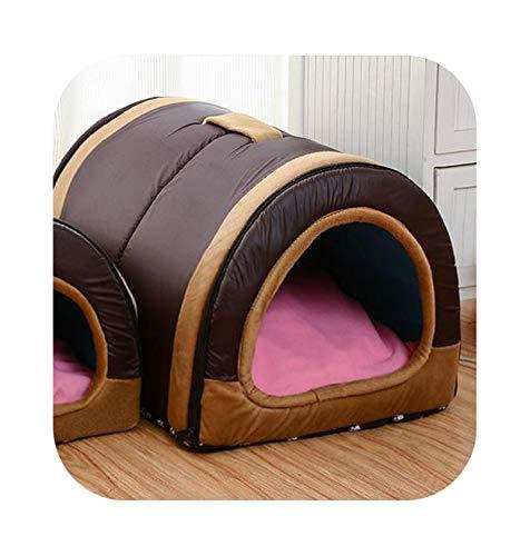 Cama para perro, cama para perro con alfombra plegable, casa, gato, cachorro, perro para perros pequeños, medianos y mascotas, chihuahua, camas, alfombra cojín, rown-48 cm x 34 cm x 32 cm