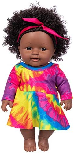 ZITA ELEMENT Realistic Black Baby Girl Doll Toy 11 8 Inch Cute Curly Hair Black Skin African product image