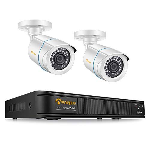 Anlapus 1080P HD Videoüberwachung System 4CH H.265+ 1080P DVR Recorder mit 2X 2MP Außen Bullet Kamera Set ohne Festplatte, 20M IR Nachtsicht