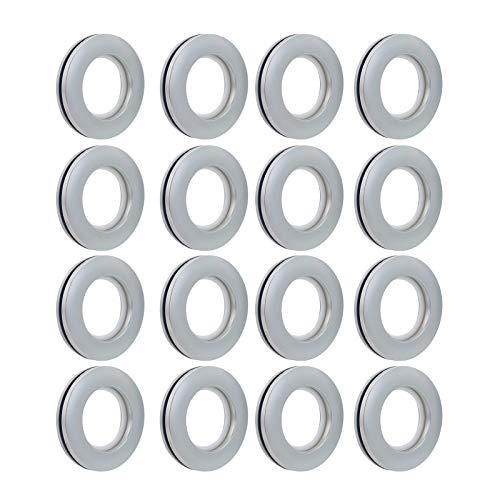 """LANDGOO Curtain Grommets 16 Pack Curtain Eyelet Rings 1-9/16"""" Inner Diameter, Nanoscale Low Noise Roman Ring, Silver"""