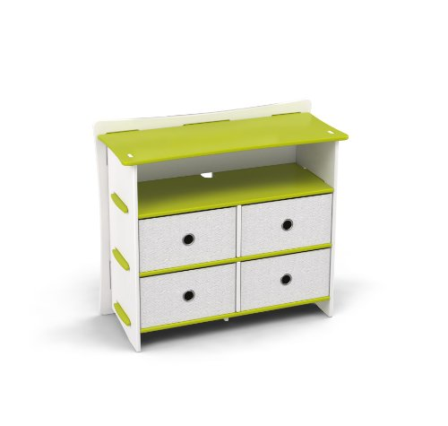 Legaré Kids Furniture Frog Series Collection, No Tools Assembly 4-Drawer Dresser, Lime Green and White