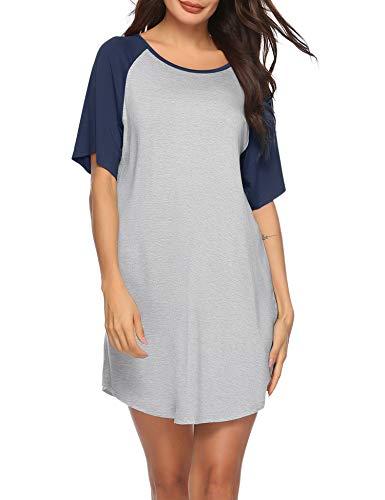 Sykooria Camisones de Algodón Modal para Mujer Vestido Camisón Super Suave Pijama Ropa de Dormir Talla Grande Verano Camisa de Dormir Cuello en V Manga 3/4 Loungewear