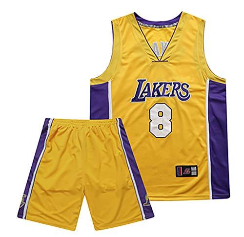 Hombres Baloncesto Jersey Retro Bordado Retirado Kobe No. 8 Uniforme de Baloncesto, Lakers Shirt Vest Top, Baloncesto Ropa Hombres Conjuntos-Yellow-L