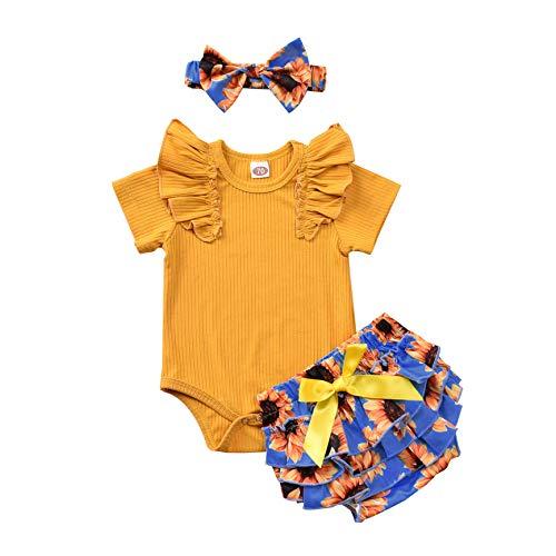 T TALENTBABY - Conjunto de ropa de bebé recién nacido, manga corta, camiseta de manga corta, pantalón de flores con volantes, cinta para la frente, 3 piezas azul, amarillo 18-24 Meses