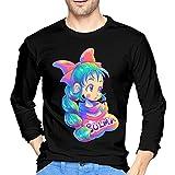 Bul-Ma - Camiseta de manga larga para hombre, estilo casual, 100% algodón, cuello redondo, manga larga, cómoda impresión, Negro, XL