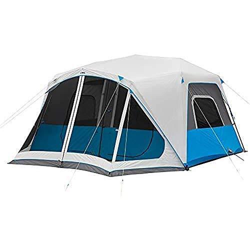 ZHANGLE Zelt für Camping Familiencampingzelt Wasserdicht mit Sofortaufbau Beleuchtetes Sofortkabinenzelt mit Bildschirm Raum 10 Personen für 4 Jahreszeiten