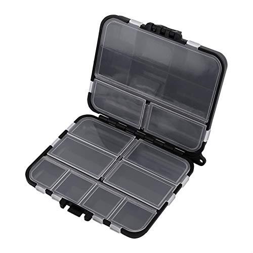 Cajas de aparejos de pesca, caja de almacenamiento de cebo de plástico, con 26 compartimentos individuales, caja de almacenamiento de cebo de plástico negro portátil