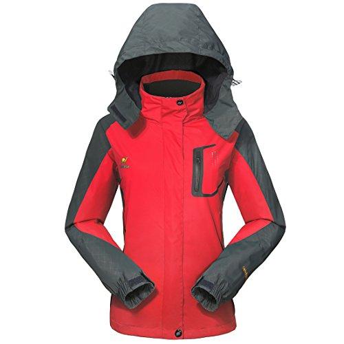 GIVBRO Damen Softshell Regenjacke 2017 Neues Design Sport Wasserdichte Outdoorjacke Atmungsaktive Multifunktions Funktionsjacke Jacke,Rot,EU 38(Herstellergröße:M)