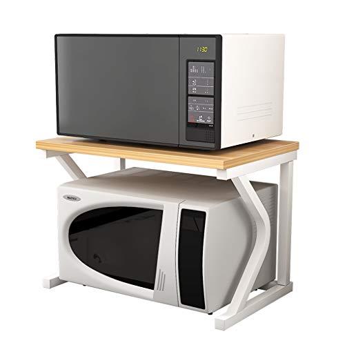 MAGO Mikrowelle Rack, Küche Rack Mikrowelle Schrank und Counter Rack Organizer, weißen Rahmen + helle Nussbaum Farbe Multifunktionales Mikrowellenherdgestell