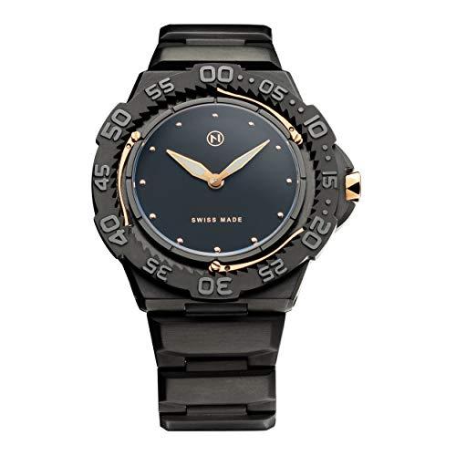 NOVE Trident Swiss Made Quartz Diver Watch for Men (Black Gold E003-02)