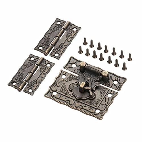 SZXJJ Antiguo Bronce Candlock Lock Jewelry Caja de Madera Perspectivo Pasto Pasp + 2pcs Maleta Maleta Bisagra Vintage Muebles Hardware Decorativo