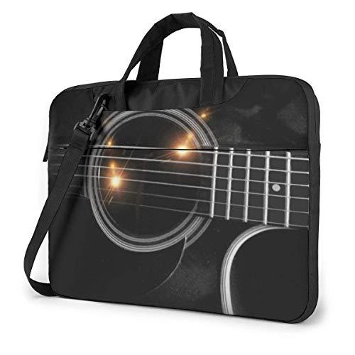 Schwarze Gitarrensaiten Laptoptasche Kompatible Laptop Messenger Umhängetasche mit Riemen,