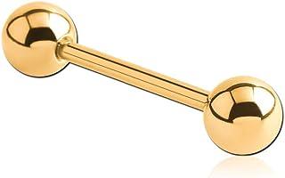 INOKI - Barbell Placcato Oro 18 carati con Sfere - Spessore 1.6 mm - Palla 5 mm