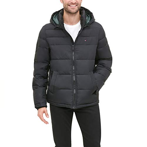 Tommy Hilfiger Men's Classic Hooded Puffer Jacket, Black, M