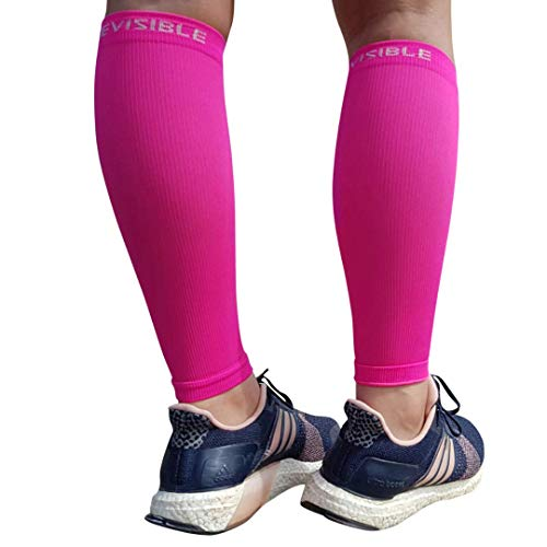 BeVisible Sports Calf Compression Sleeve Footless Leg Compression Socks for Men & Women for Shin Splints, Running, Cycling, Travel, Circulation & Everyday Support - 1 Pair (Neon Pink, Large-XL)