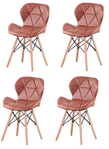 Lounge Chair Leather Dining Chairs Set Of 4 Modern Retro Chair Upholstered Seat With Wood Legs Comfortable Accent Chairs For Living Dining Room Bedroom Kitchen Lounge Restaurants ( Color : Brown )