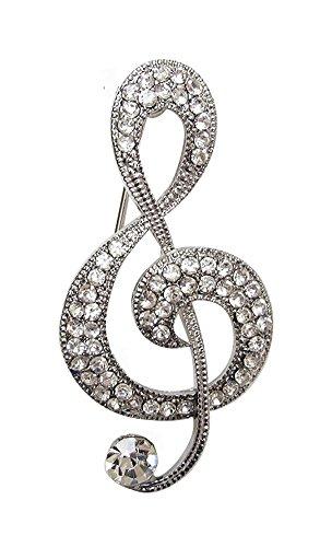 bijouxmodefashion Broche Plateado Diseño Clave de Sol Música Estrás Cristal Blanco