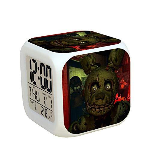Kids nachtkastje digitale wekker LED kleurrijk nachtlicht sfeerwekker vierkant klok aanrakingsschakelaar stille reis kleine wekker met USB-oplaadaansluiting cadeau voor kinderen Q9533