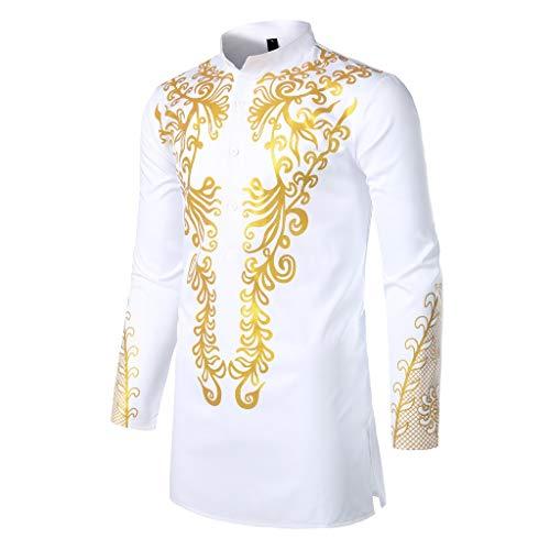 FRAUIT Herren Lange Hemd Afrika Drucken Langarmshirts Basic T-Shirt Fit Slim Knopf Bluse Top Afrikanischer Adel Kleidung